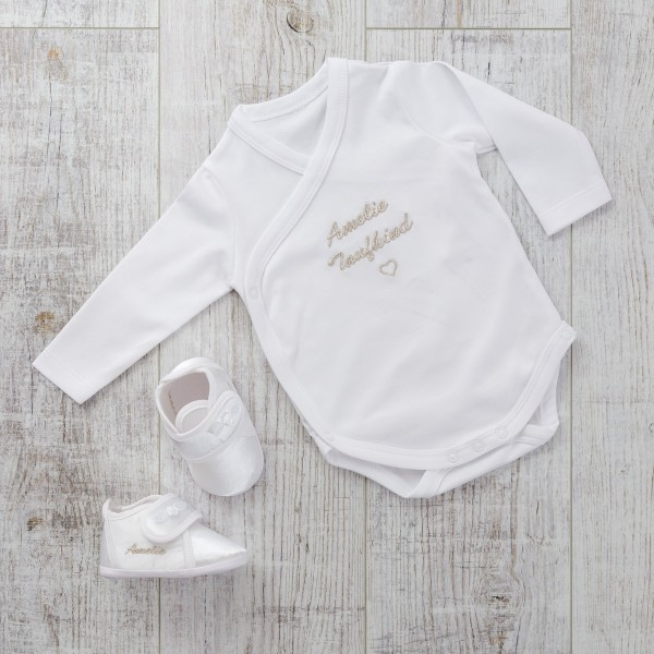 Bodysuit & Baby shoes, Satin